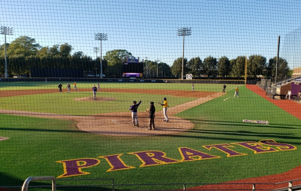ECU baseball on the field during a scrimmage