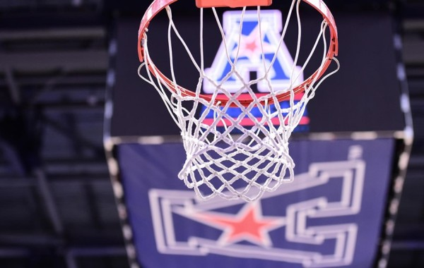 The AAC logo and a basketball hoop