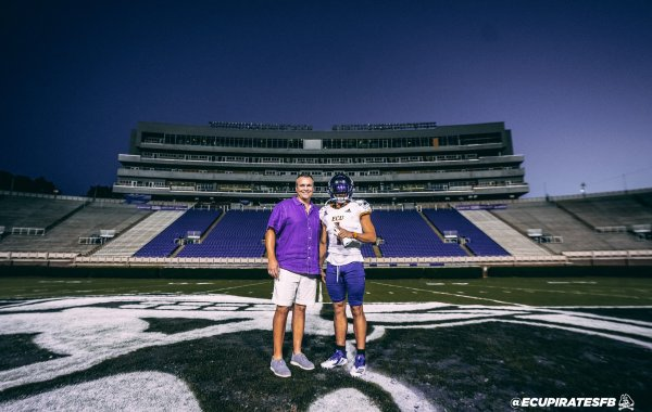 Teagan Wilk and Mike Houston in Dowdy-Ficklen Stadium